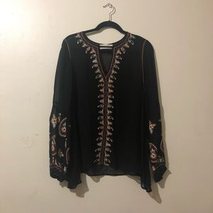 Black Embroidered Sheer Blouse